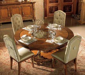 Esimia Tisch, Runder Esstisch mit handgefertigten Schnitzereien