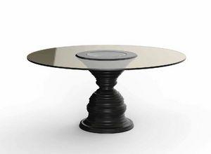 Frames Art. T09, Tisch mit runder Platte aus gebräuntem Kristall
