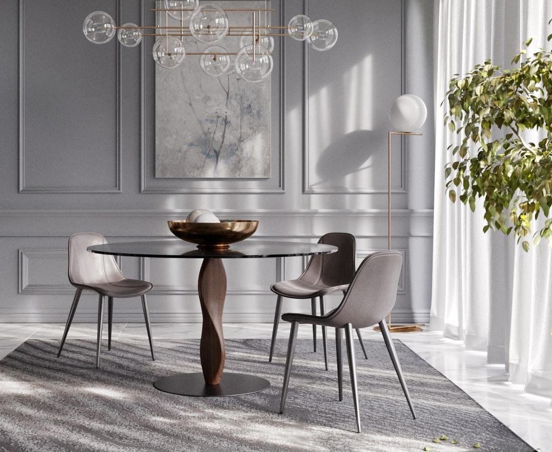 Eleganter runder Tisch mit Glasplatte   IDFdesign