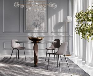 GENESIS, Eleganter runder Tisch mit Glasplatte