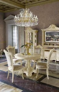 Madame Royale runder Tisch, Tisch im klassischen Stil mit ausziehbarer Platte
