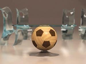 Mundial, Runder Couchtisch mit Holzboden-Luftballon, Glasplatte