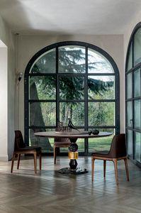 PANDORA TABLE, Tisch mit Multimaterialstruktur und Holzplatte