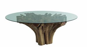 Radice 04C5, Table ronde en verre avec base de racine