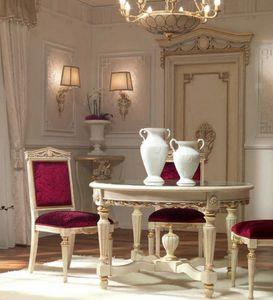 San Pietroburgo Art. TAV02/DIAM.122, Klassischer Tisch mit runder Kristallplatte