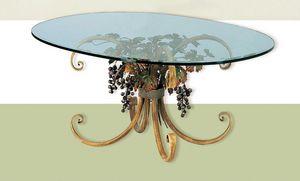 T.5190/4/T, Ovaler Tisch mit Glasplatte, Herbstdekoration