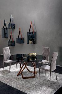 YORK, Runder Tisch mit massivem Nussbaumgestell und Feinsteinzeugplatte