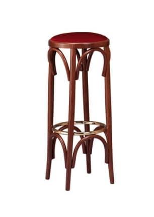 V06, Barhocker in gebogene Holzkomponenten, runden gepolsterten Sitz