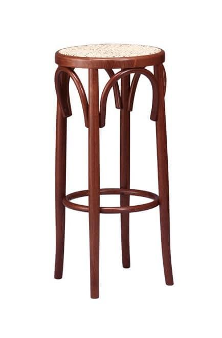 V07, Round Barhocker aus Buchenholz gebogen, für Saloons
