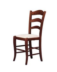 208, Stuhl mit gepolstertem Sitz, im rustikalen Stil gemacht