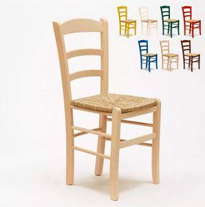 20er Stock Set Esstischstühle Esszimmerstühle Massivholz Paesana SP00120PZ, Rustikale Stühle mit Strohsitz