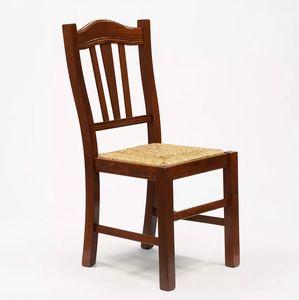Esstischstuhl Esszimmerstuhl aus Massivholz mit Sitzfläche aus Stroh Design Silvana SS015PAG, Schlechter Kunststuhl, Strohsitz