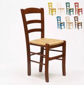 Esstischstuhl Massivholz Stul für Esszimmer Sitzfläche aus Stroh Paesana SP001, Rustikaler Stuhl, Strohsitz