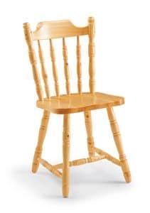 S/103 Kolonialstuhl, Rustikaler Stuhl aus massiver Kiefer, für Berggasthöfe