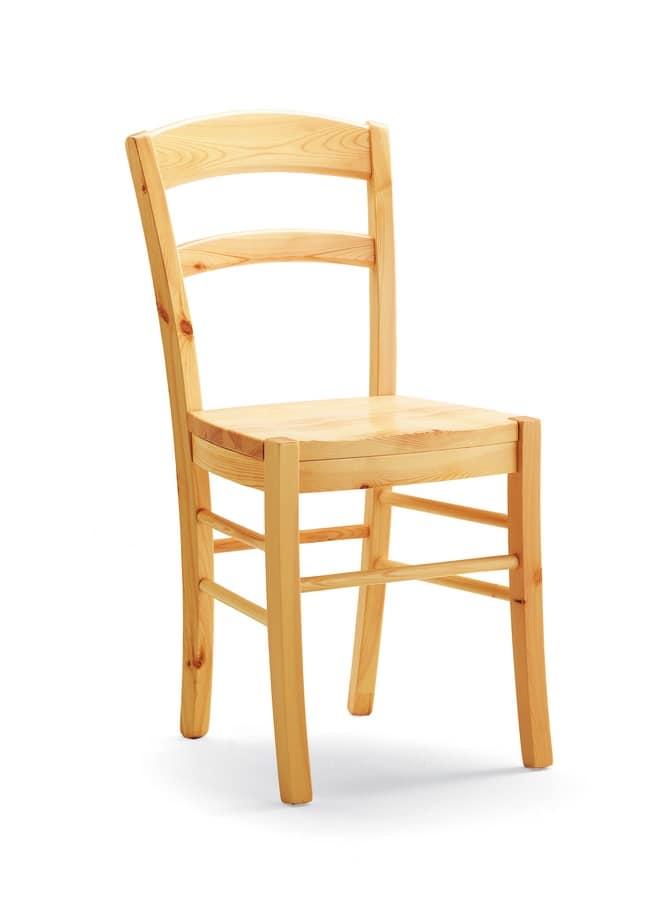 S/127 L Paesana Holz, Stuhl komplett aus massiver Kiefer, für Bars und Tavernen