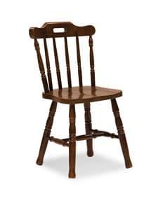 S/149 Country Stuhl, Rustikaler Stuhl in Kiefer, mit senkrechten Latten, für Tavernen