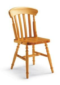 S/150 York Stuhl, Stuhl mit senkrechten Latten, in Kiefer, im rustikalen Stil