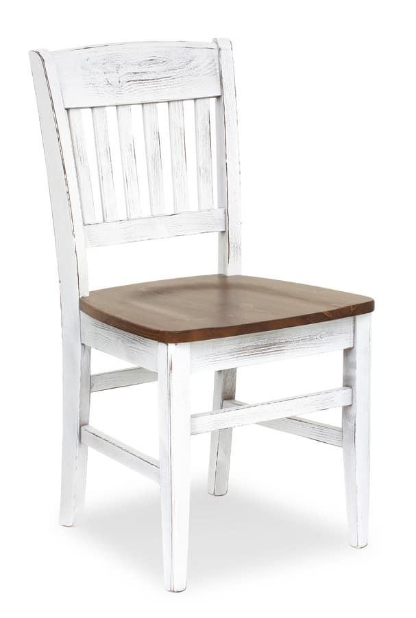 S/155 Veronica Stuhl, Rustikal Stuhl aus Holz, zurück mit vertikale Muster