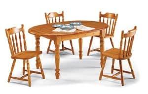 T/140 ovalen, Rustic ovalen Tisch in massivem Kiefernholz, für Limousinen