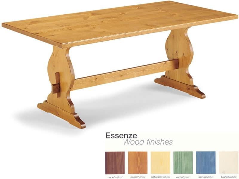 T/204, Rustikalen Holztisch mit Fußstütze, für Pubs