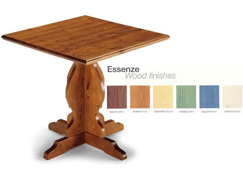 T/410, Rustikalen Tisch aus massivem Holz, für die Küche