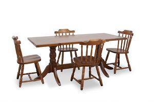 Tiche 180x80, Rustikaler Tisch aus massivem Kiefernholz, mit verdrehter Basis