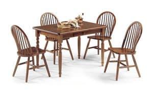 Tisch 4 Beinen 130x80, Rechteckiger Tisch aus Kiefern mit Walnuss finishses gemacht