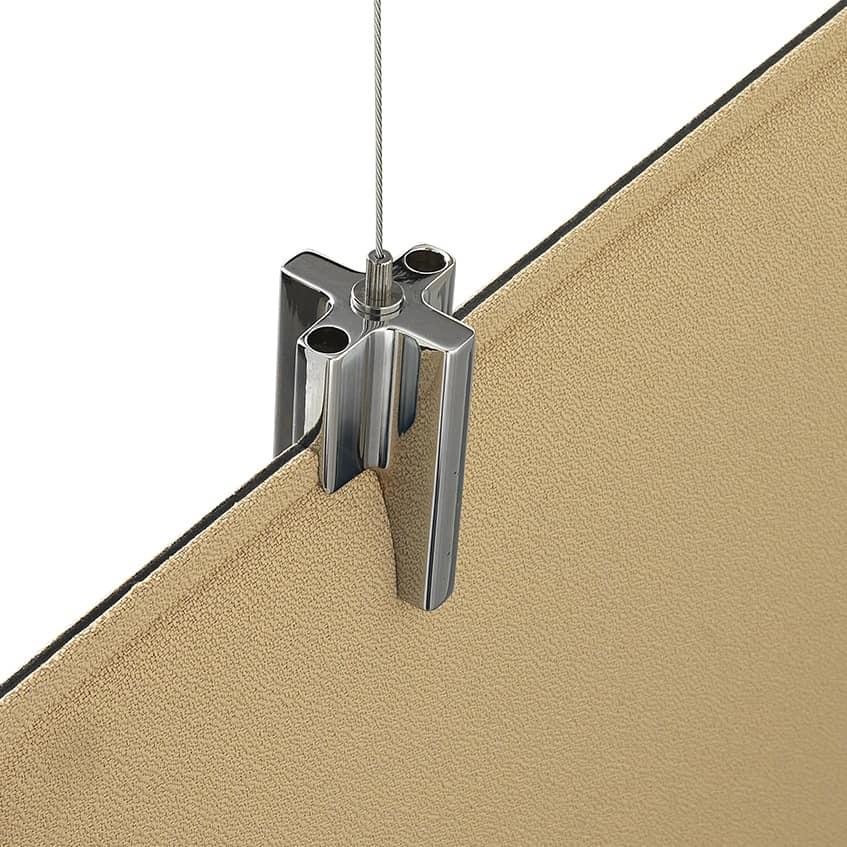 Baffle Oversize, Patentiertes System zum Aufhängen schallabsorbierender Platten
