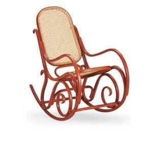 Dondolo, Schaukelstuhl aus Holz, Sitz und Rückenlehne aus Zuckerrohr