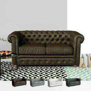 2-Sitzer Ledersofa Capitonné CHESTERFIELD Design - DI764CHEPUM, Chesterfield Kunstledersofa