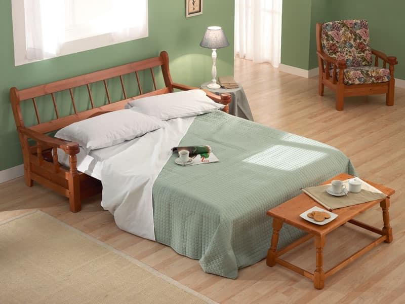 Vienna Sofa Bed, Schlafsofa im Holz im rustikalen Stil, für Bauernhaus