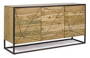 Anrichte 3A Egon, Sideboard mit 3 Türen aus Holz und Stahl