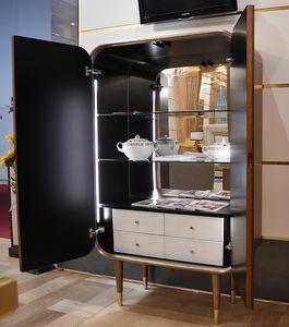 Bent cabinet, Schrank mit Schubladen und internen Regalen