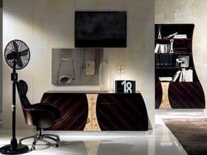 CR42 Cartesio Sideboard, Sideboard aus Holz mit 4 Türen, Blumenschmuck auf Eichen