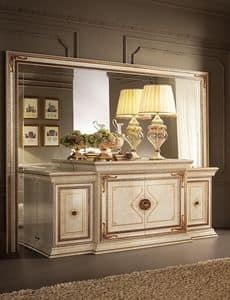 Leonardo buffet, Klassisches Buffet, fertig in Blattgold, 4 Türen
