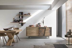 MODUS MA108, Moderner Schrank aus Laminat und dekorierten Metalleinsätzen