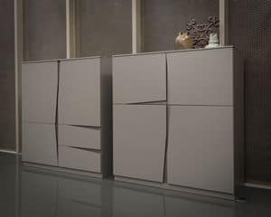 VELA Schrank comp.01, Schrank mit Türen und Schubladen, original Griff