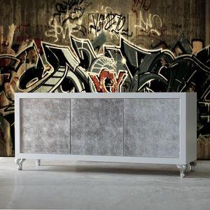 Sessanta GREEN5501B, Modernes Sideboard mit silbernen Türen