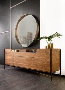 Shangai Sideboard Holz, Holz Sideboard mit Glasplatte