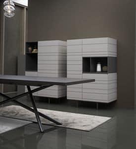 STRIPE Schrank comp.01, Schrank für Wohnzimmer, in matt oder Eukalyptus-Finish