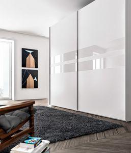 ATHENA, Kleiderschrank aus Melamin und Glas, für Schlafzimmer