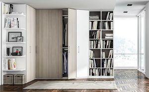 FILO, Kleiderschrank mit Bücherschrank aus Melamin