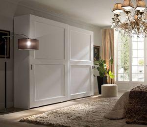 Liò weiß lackierter Kleiderschrank, Kleiderschrank mit Schiebetüren, weiß lackiert