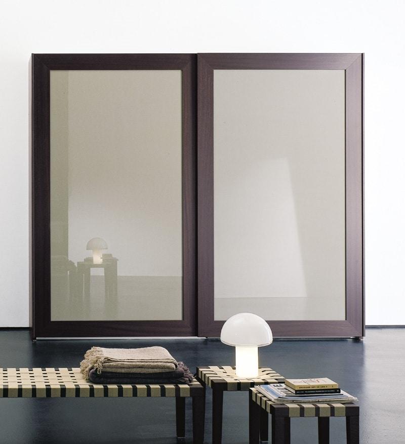 PASSE-PARTOUT, Schrank für das Schlafzimmer, Türen mit gestaltetem Spiegel
