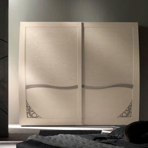 Luna LUNA5102-289, 2 Schiebetüren Kleiderschrank mit Laubsägearbeiten
