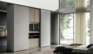 NARCISO, Kleiderschrank mit zu öffnendem TV-Ständer