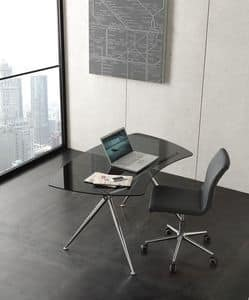 s04 asterix, Moderner Schreibtisch mit Glasplatte
