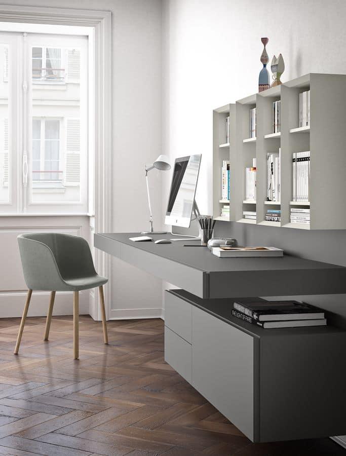 Ala Schreibtisch, Abgehängte Schreibtisch, in Furnier oder lackiertem Holz