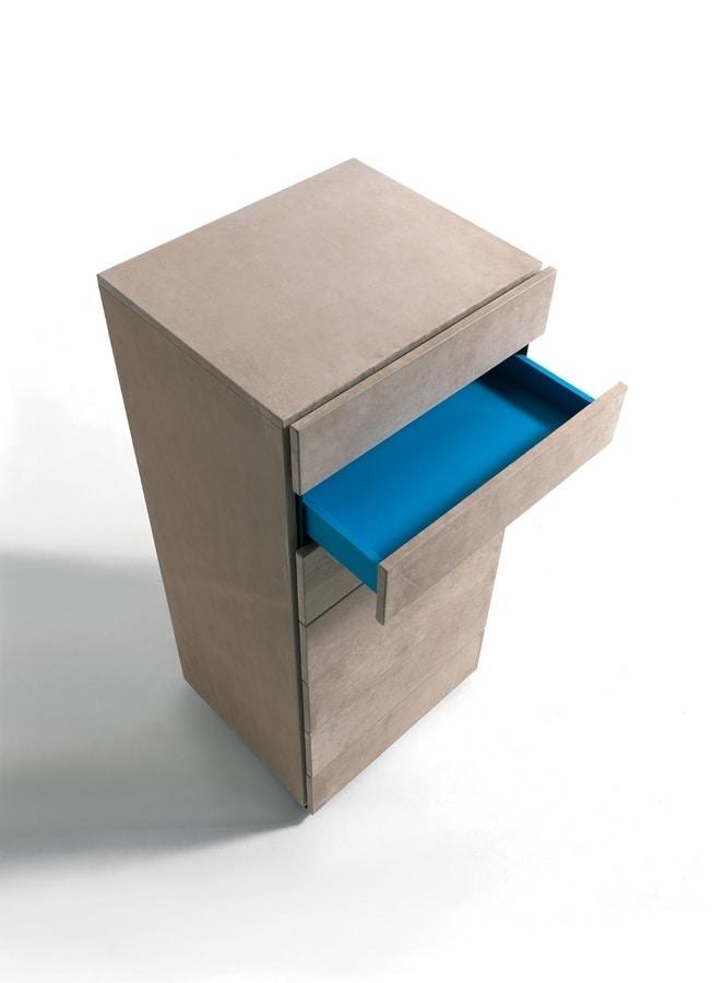 HARU NABUK dresser, Holz wöchentlich in Leder Schubladen, verschiedene Farben