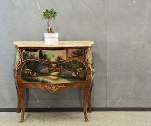 Art. 358, Kommode mit Marmorplatte und dekorative Malerei